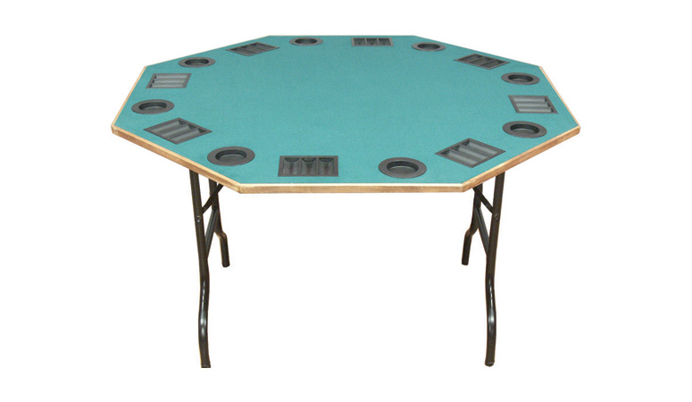 Octagon poker table with folding legs