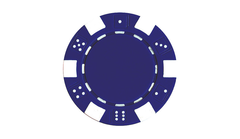 Blue Striped Dice Poker Chip For Sale