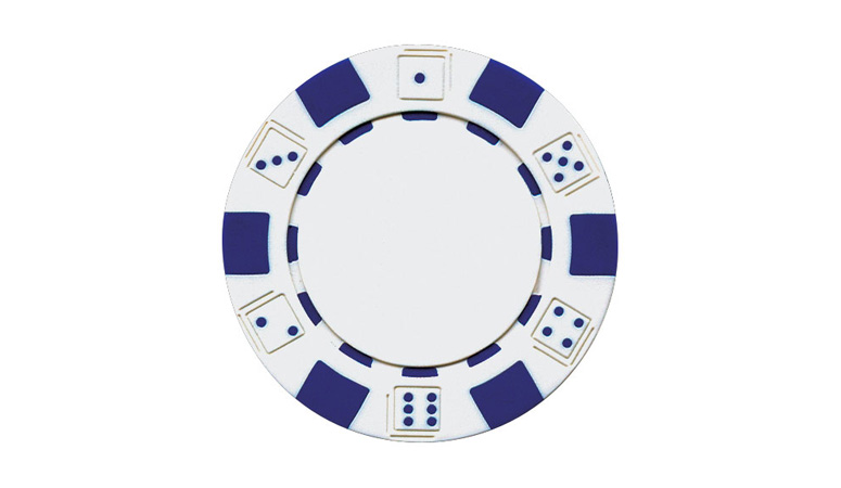 White Striped Dice Poker Chip For Sale
