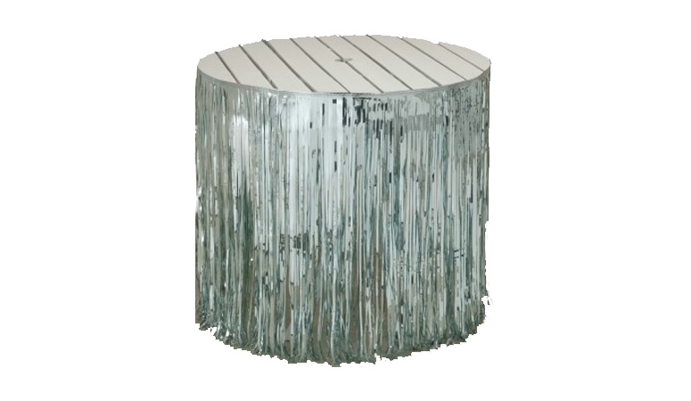 Silver metallic foil fringe table skirt for sale for 12 foot craps table for sale