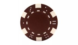 Brown striped dice poker chip