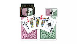 Copag green and burgundy jumbo index playing cards