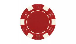 Red striped dice poker chip