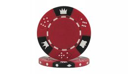 Red tri color triple crown poker chip