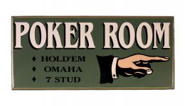 Classic poker room wood sign