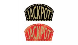 Glittered casino jackpot signs