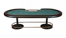 Poker table with metal legs made in the usa