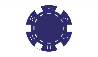 Blue striped dice poker chip